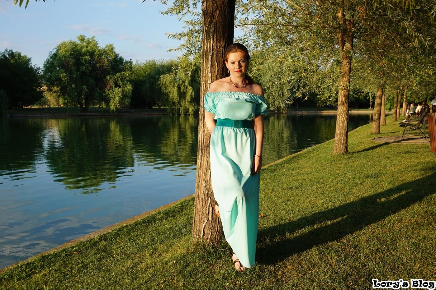 rochie-lunga-turcoaz-zaful-curea-verde-fata