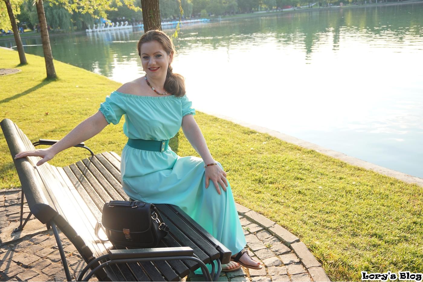 rochie-lunga-turcoaz-zaful-curea-verde-lac